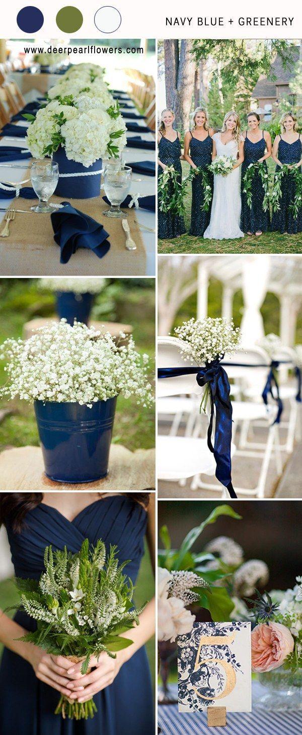 navy blue and greenery wedding color ideas for 2018 #blueweding #weddingcolors #weddingideas / http://www.deerpearlflowers.com/navy-blue-wedding-color-combo-ideas/