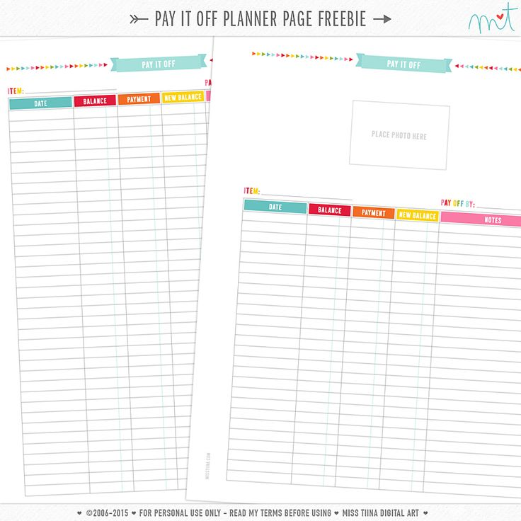FREE Pay It Off Planner Page Printables By Miss Tiina
