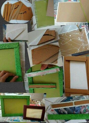 DIY photo frame from carton