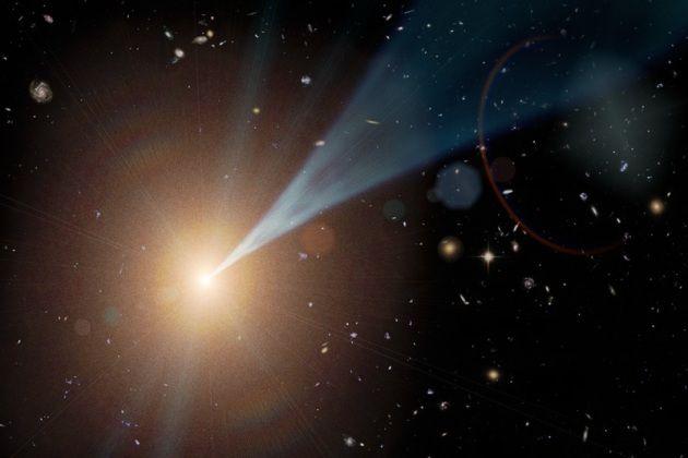 Un buco nero supermassiccio con un getto di particelle e fotoni espulso con velocità prossime a quella della luce. Solo una frazione dei buchi neri possiede un getto e questo può essere puntato in qualunque direzione. Se un getto è orientato in direzione della Terra, l'oggetto celeste da cui proviene è chiamato blazar.