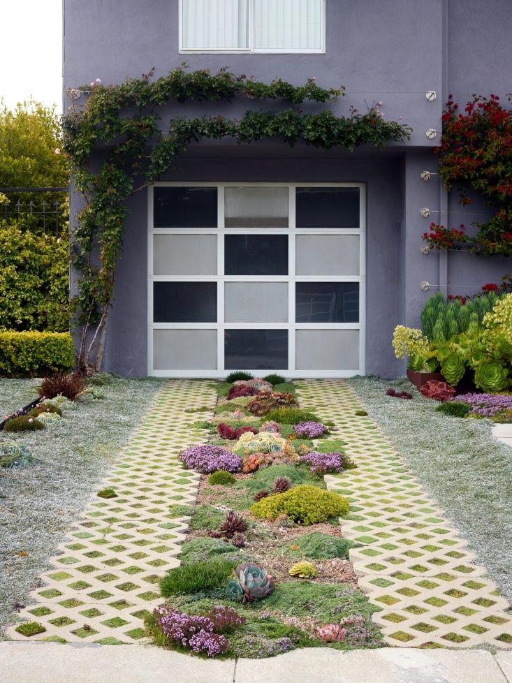 driveway and garage succulents in Castro neighborhood San Francisco