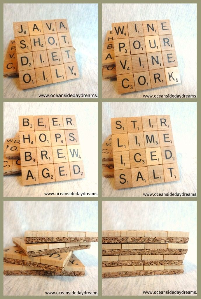 DIY your own scrabble coasters