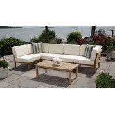 Found it at Wayfair - Bali Teak 5 Piece Sectional Set with Cushions
