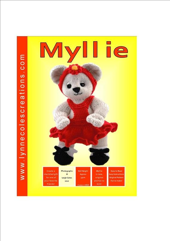 Toy Knitting Patterns  PDF format  Myllie by LynneColesCreations, $4.00