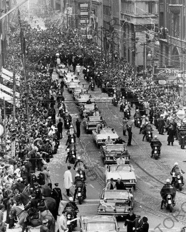Toronto Maple Leafs Victory Stanley Cup Parade on it's way up Bay St. to City Hall in 1963. Six hundred police lined the route at arm's length to control the jubilant hockey fans