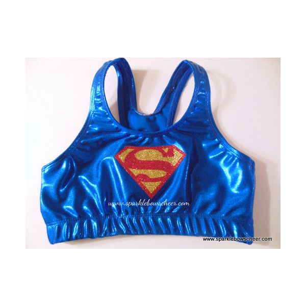 Super Steel Super Hero Metallic Sports Bra ($25) ❤ liked on Polyvore featuring activewear, sports bras, cheerleading, sports bra, blue sports bra and metallic sports bra