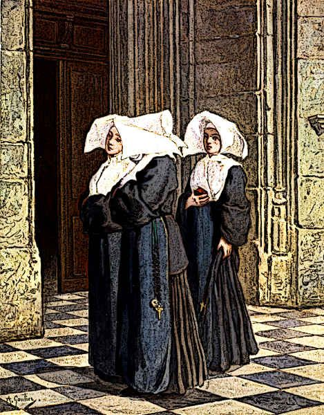 Medieval Nuns waiting in Church Portal
