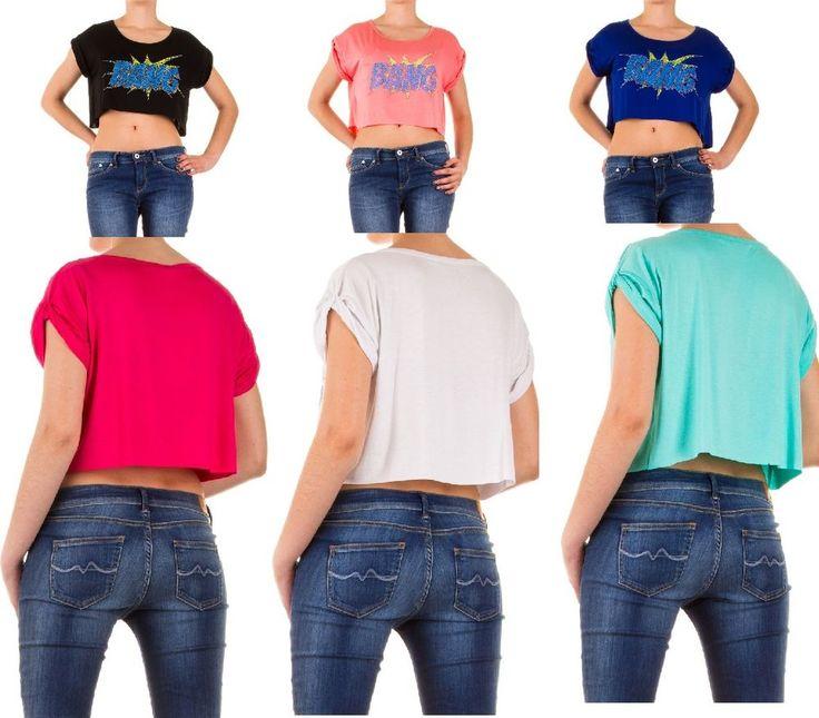 Damen Shirt Bauchfrei Trägertop Top mit Strass Stretch Freizeit,36/38,6 Farben