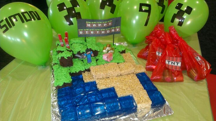 Easy and budget friendly Minecraft birthday party. Made cake using chocolate cake,  s