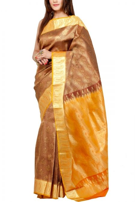 Maroon Zari Brocade Art Silk Saree