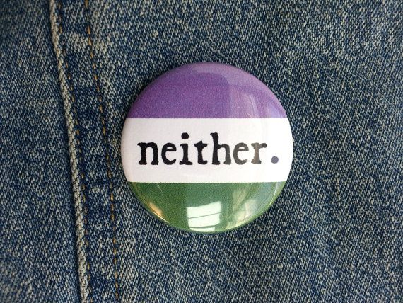 Button Neither Gender Genderqueer Flag by Bimblesnoot on Etsy