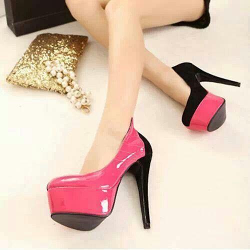Hot pink and black patent leather platform pump