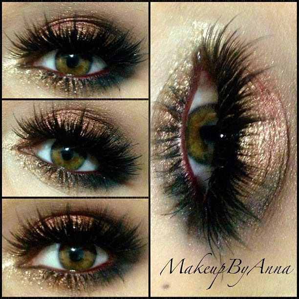 ~Brown/Bronze smokey~ For the base I used Maybelline color tattoo in Pomegranate Pink, on my lid NYX loose pigment(sorry don't have the name) it's a brown loose pigment also gold glitter eyeliner in the inner corner and MAC carbon on the outer corners and bottom. Teddy eyeliner by MAC on my waterline and DOSE OF DRAMA Lashes by DOSE OF COLORS Cosmetics (coming soon) #makeupbyanna #doseofcolors #bronze #lashes #nyx #glitter #mac #ilovemaciggirls
