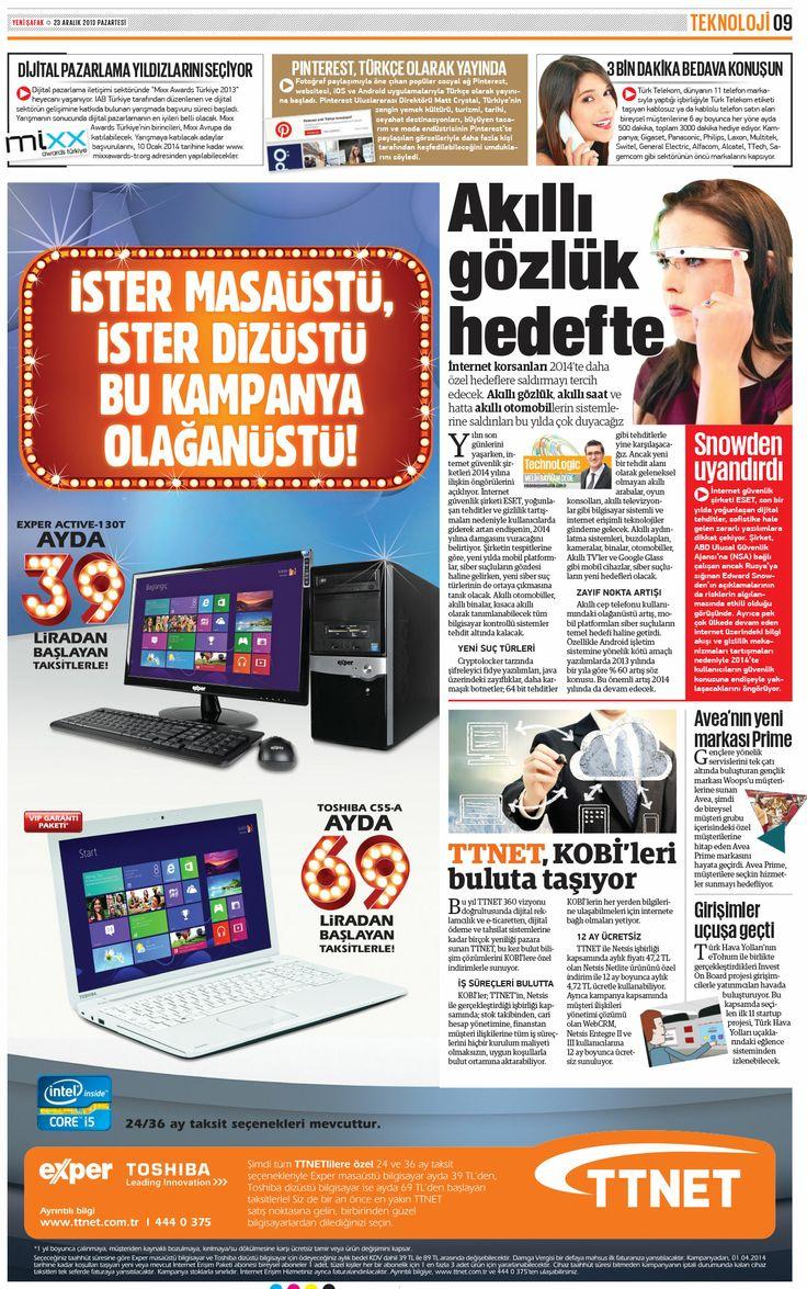 Bugünkü @YeniSafak Teknoloji sayfamızda; Akıllı gözlük hedefte, Girişimler uçuşa geçti, Pinterest Türkçe oldu vs...