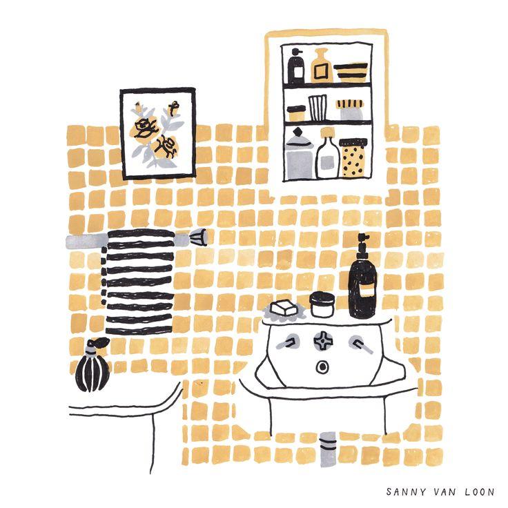 Bathroom illustration by Sanny van Loon   www.sannyvanloon.com