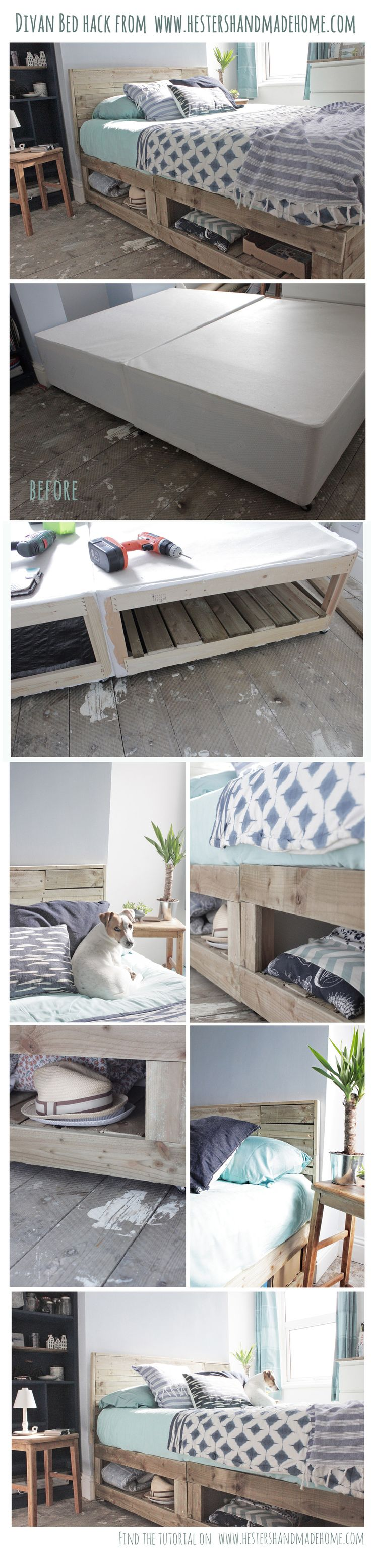 Turn a divan bed into a rustic luxe bed with lots of storage, tutorial by Hester's Handmade Home