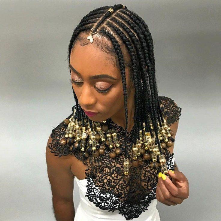 Simple Shoulder-Length Fulani Braids #BlackwomensHairstylesUpdo