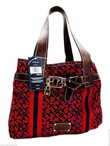 Tommy Hilfiger Tote Bag Handbag Purse Burgundy  Navy *** You can get additional details at the image link.