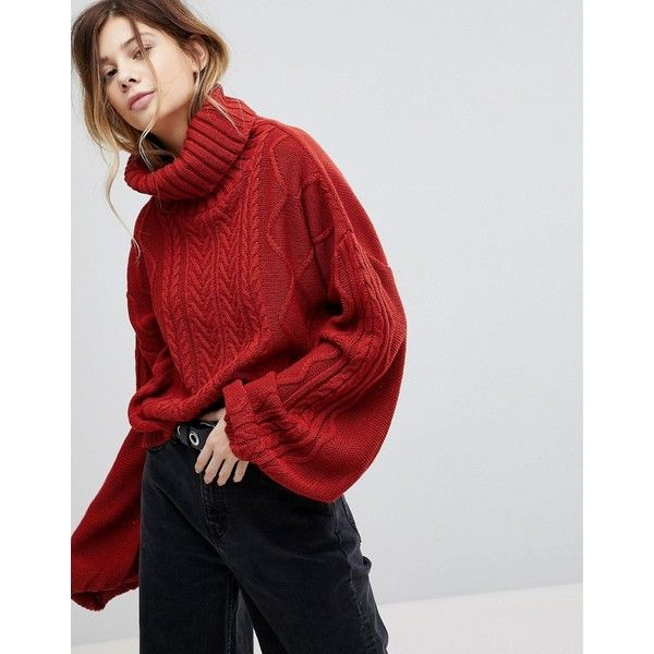 Rokoko Oversized Cable Knit Roll Neck Jumper With Balloon Sleeves (£28) ❤ liked on Polyvore featuring tops, sweaters, red, party jumpers, cropped sweater, red vest, oversized cable knit sweater and crop tops