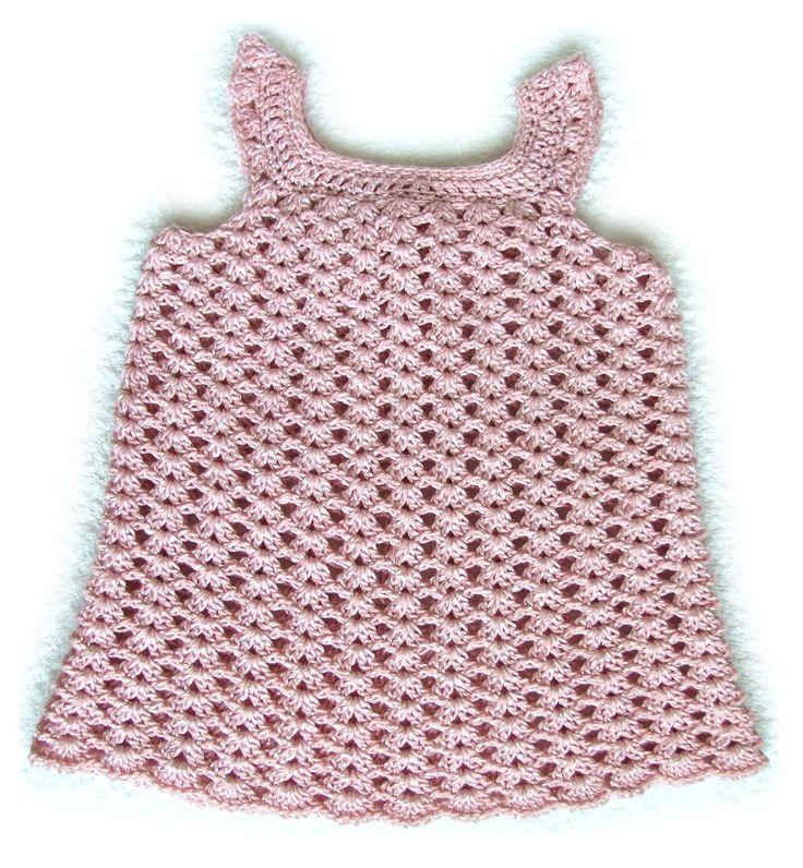 Háčkované šatičky pro nejmenší holčičky - návod Háčkované šatečky pro mimi holčičky, velikost 1 - 3 měsíce, návod obsahuje i rámcové instrukce pro větší velikost.