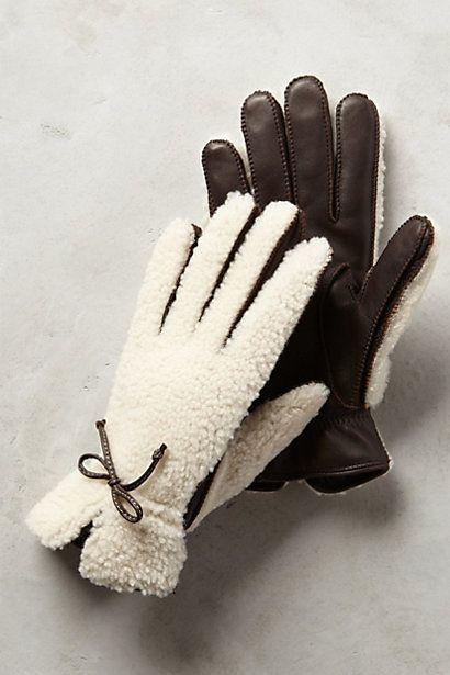 tauplitz shearling gloves #blackandwhite #anthrofave #anthropologie
