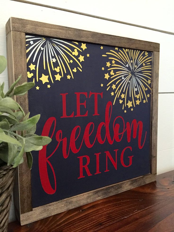 Let Freedom Ring with Hidden Mickeys ~ July 4th ~ Rustic Wood Sign by TheBrownBoston on Etsy https://www.etsy.com/listing/534943741/let-freedom-ring-with-hidden-mickeys
