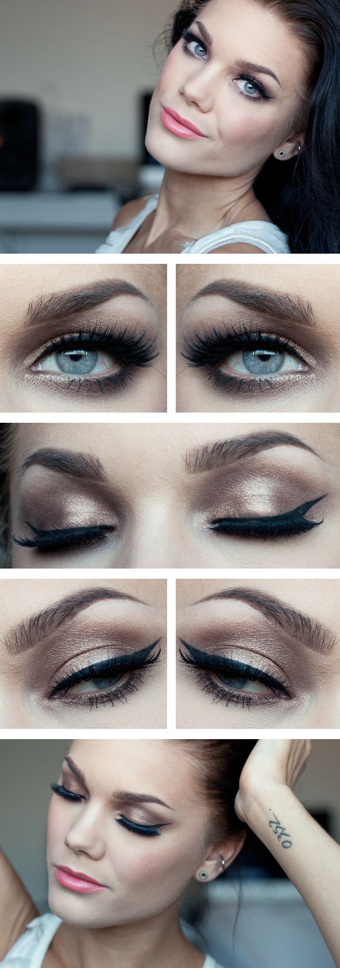 """Today's Look : """"Golden Prom Makeup"""" -Linda Hallberg ( a gorgeous golden eye look, very simple, yet sophisticated, lots of lashes, a beautiful peachy pink lip. Perfect look for prom or spring wedding) 05/17/13"""