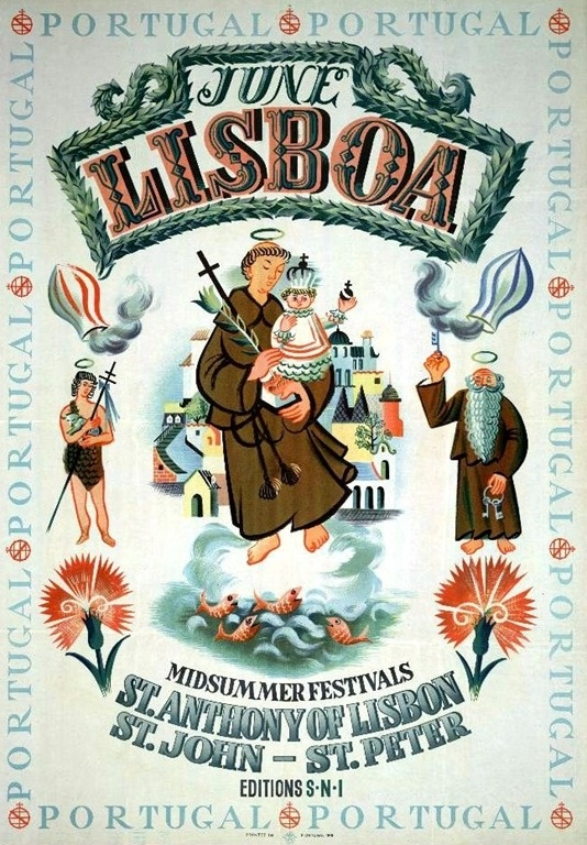 1949_Lisboa  #Portugal. Poster announcing the celebration of traditional festivities in June.