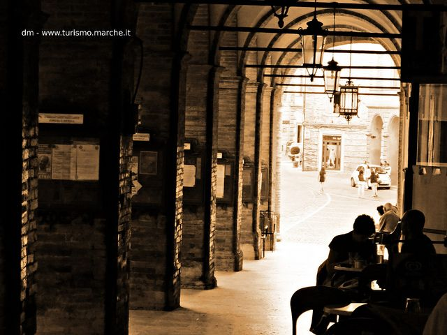 Offida, the Portico under the town-hall. Marche, Italy
