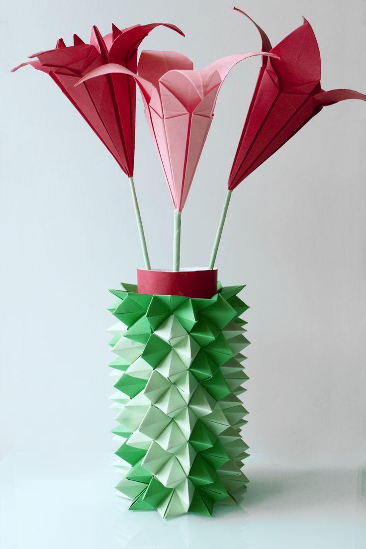 Pretty origami Lily flowers