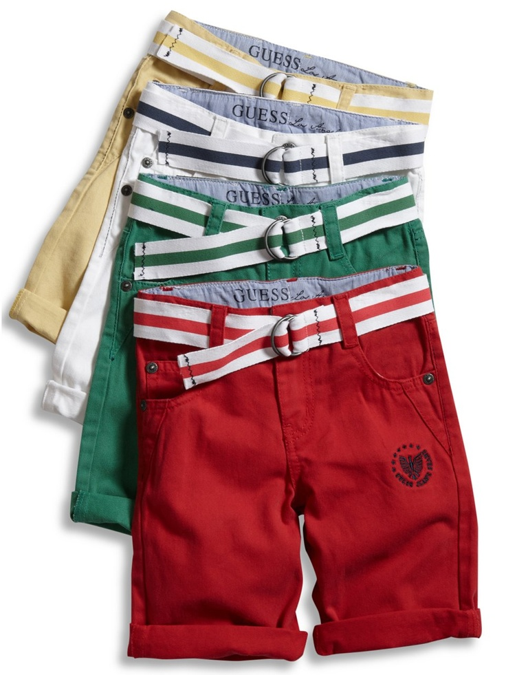 GUESS Kids Boys Belted Shorts with Embroidery (12 - 24m), WHITE (12M)