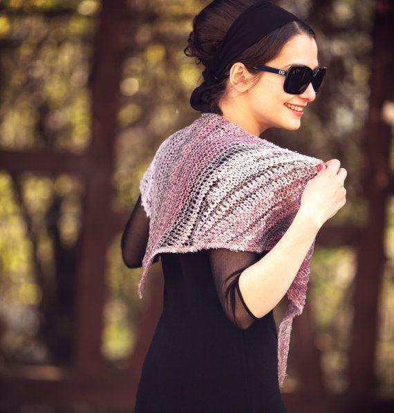 womens avant garde fashion scarf ▪ unique handmade scarves ▪ triangle scarf ▪ silk scarf ▪ lightweight summer scarf ▪ hand knit scarf _ _ _ _