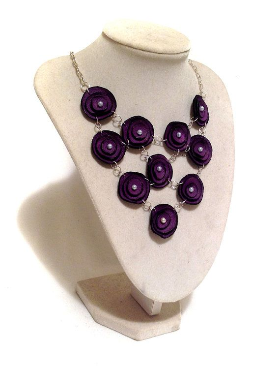 SALE Purple bubble necklace with beads Statement by julishland, $19.00