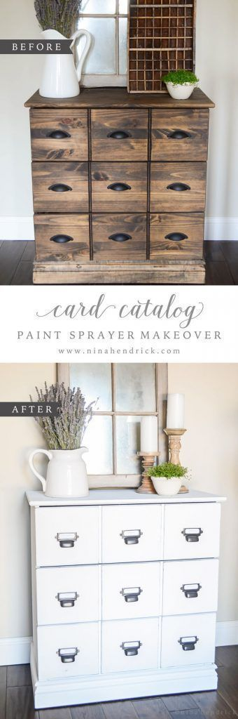 See how @nina_hendrick painted a card catalog during nap time using the Wagner Home Decor Sprayer. The results are beautiful! #farmhouse #diy #modernfarmhouse