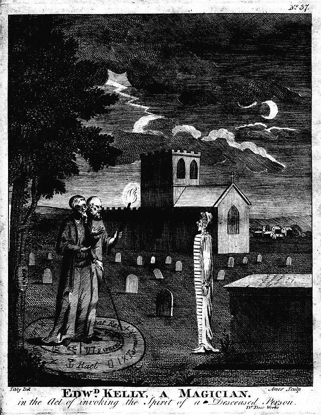 """""""Was it necromancy, then? Some foul resurrection spell?' Baldwin asked."""" /Necromancy is a form of magic involving communication with the deceased – either by summoning their spirit as an apparition or raising them bodily. / Pictured: """"John Dee and Edward Kelley, a Magician, in the Act of Invoking the Spirit of a Deceased Person."""" An engraving by Ames of Bristol, from an 1806 edition of Astrology, A New and Complete Illustration of the Occult Sciences by Ebenezer Sibly."""