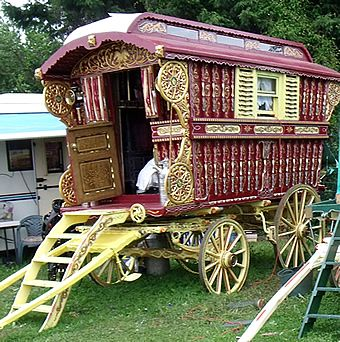English Gypsy caravan, Gypsy wagon, Gypsy waggon and vardo: John Pockett at Stow Fair and Appleby Fair 2009