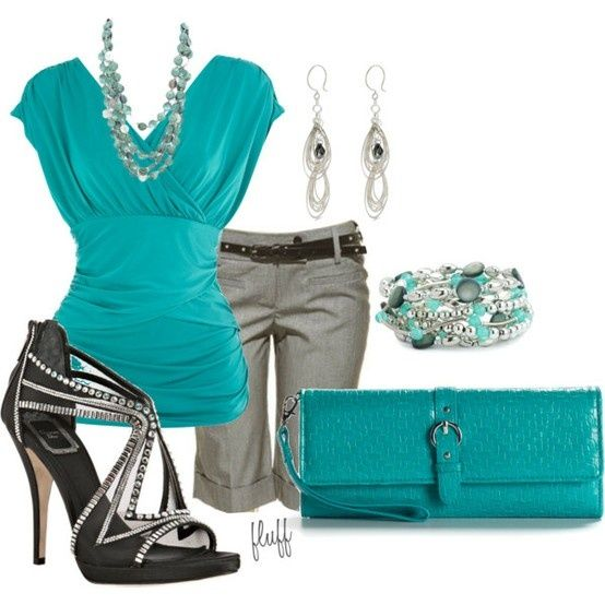 Teal, Teal, Teal: Shoes, Colors Combos, Fashion, Summer Outfit, Style, Summer Work Outfit, Shorts, Cute Outfit, Dates Night
