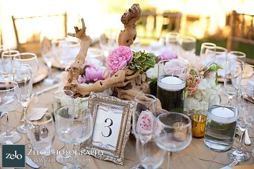 Driftwood wedding centerpiece