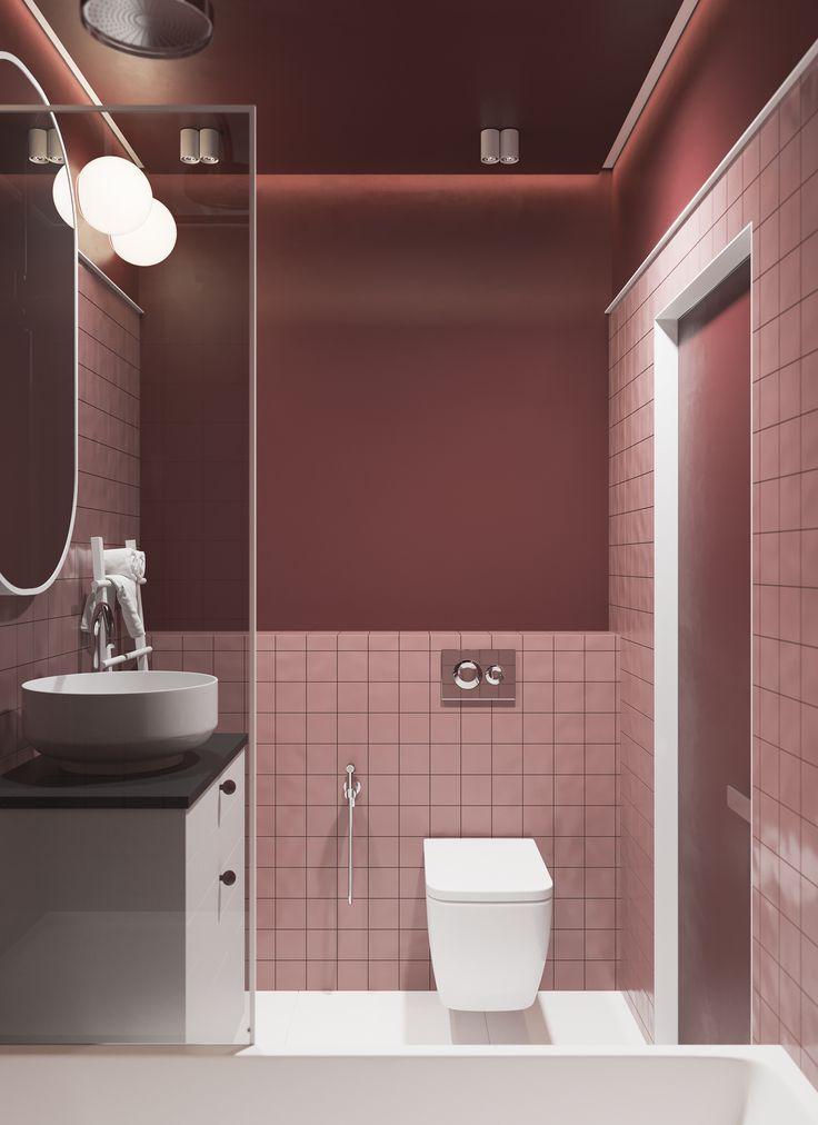 Bordo white bethroom burgundy bathroom red bathroom
