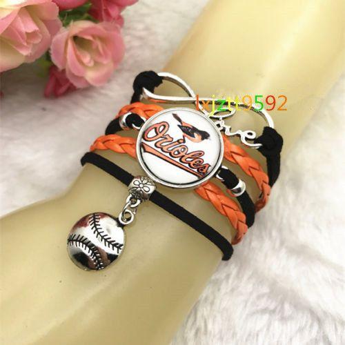 20Pcs Baltimore Orioles Baseball Mbl Glass Cabochon Infinity Handmade Bracelets