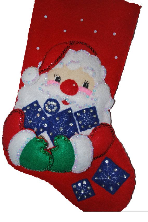Finished Handcrafted Bucilla Felt Christmas Stocking by AidensLove, $75.00