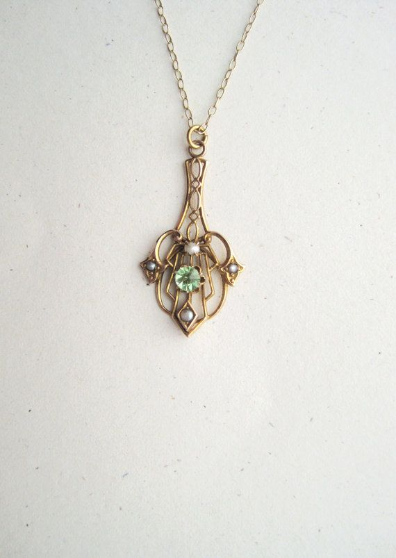 Pretty antique gold-filled lavalier necklace with green paste peridot stone and natural white and grey pearls