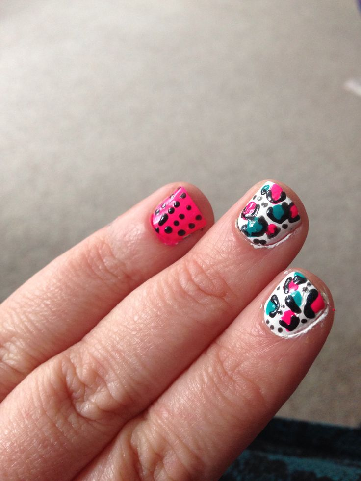 Combo pink and bright blue pink white leopard print. Nailfy Nail art by Kirsty.