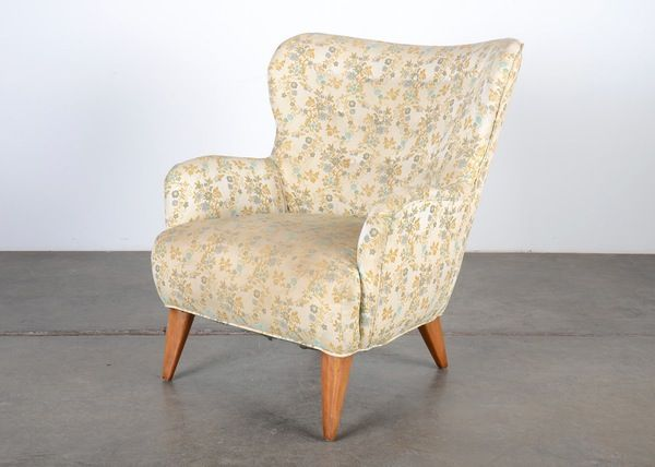 heywood wakefield curved wing back armchair