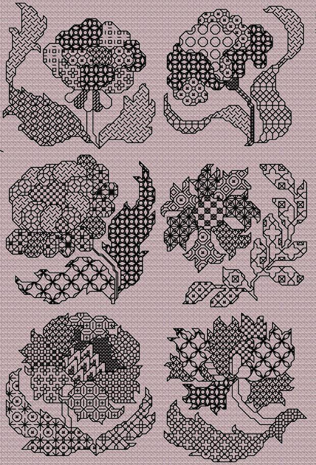 Maria Diaz Designs: Blackwork Flowers (Cross-stitch chart)