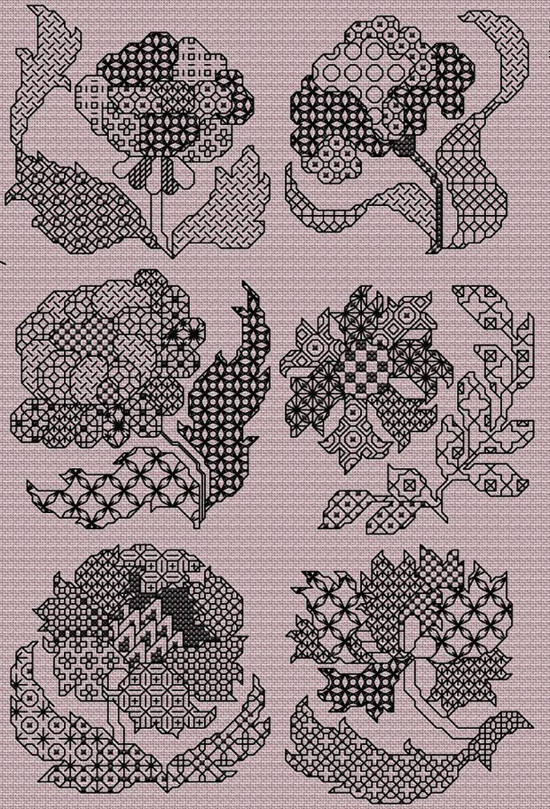 Maria Diaz Designs: Blackwork Flowers (Cross-stitch chart)