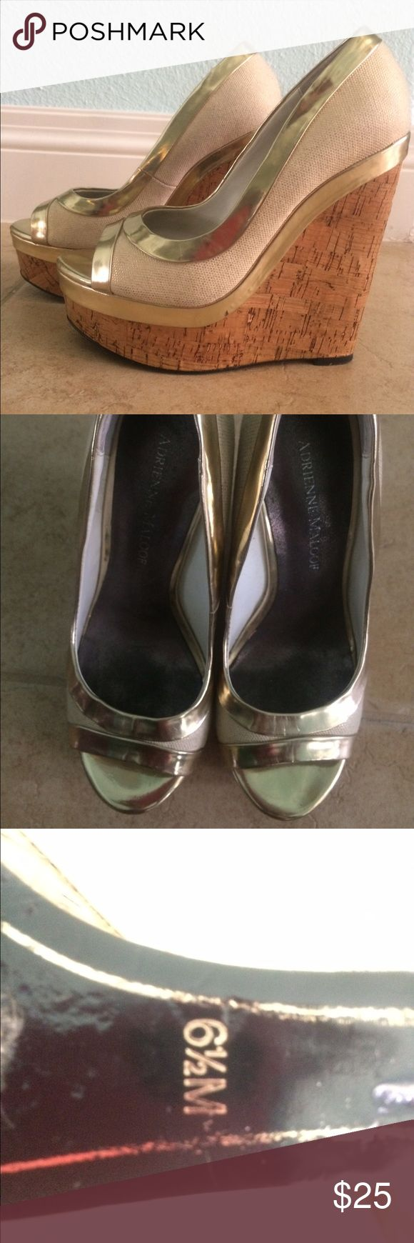 Adrienne maloof cream and gold wedges Adrienne maloof cream and metallic gold wedges in excellent condition and so adorable! Worn maybe twice. Shoes Wedges