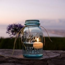 """floating candle in mason jar. great """"ambience"""". :-)"""