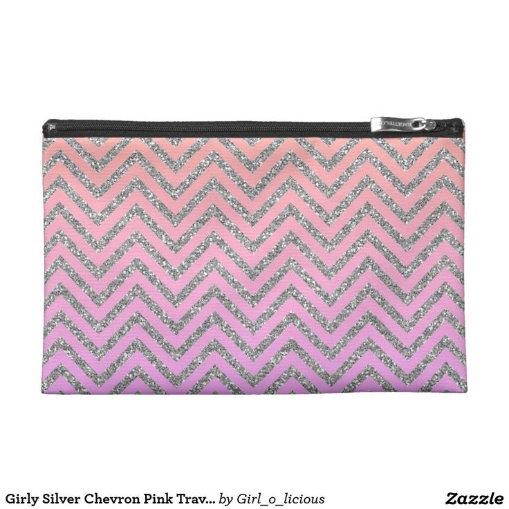 Girly Silver Chevron Pink Travel Accessory Bag