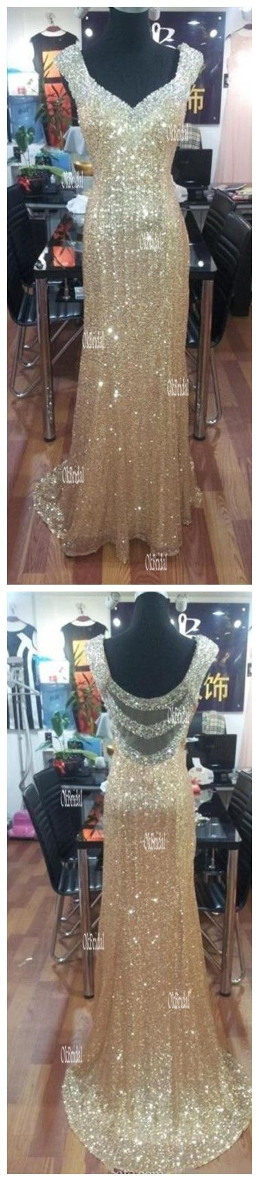 Sequin prom dresses, gold prom dresses, prom dresses 2016, cap sleeve prom dresses, cheap prom dresses, 17007